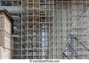 bâtiment, échafaudage, bureau, moderne, site, construction