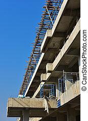 bâtiment, échafaudage, construction., sous