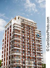 bâtiment, échafaudage, installed, grand, constr, façade, ...
