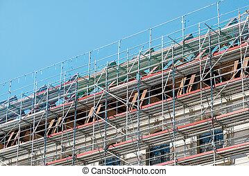 bâtiment, échafaudage, maison, façade, construction, sous