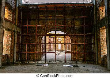 bâtiment, échafaudage, plancher, maison, grand, béton, construction, brick., sous, voûte, construction., bâtiment.