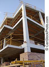 bâtiment, échafaudage, site construction, espagnol