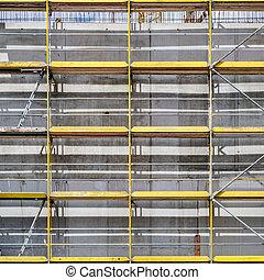 bâtiment, échafaudage, site, construction, façade