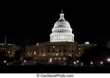 bâtiment, éclairé, washington dc, nous, dôme, nuit, capitole