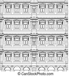 bâtiment, éclectique, résumé, maison