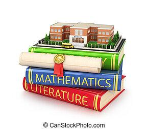 bâtiment, école, concept, disposition, scolarité, diplôme, illustration, localisé, books., 3d
