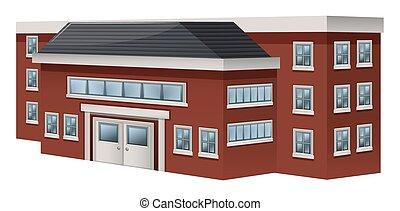 bâtiment, école, conception