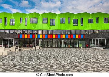 bâtiment, école, contemporain
