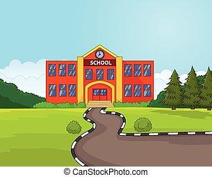 bâtiment, école, dessin animé