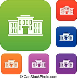 bâtiment, école, ensemble, collection