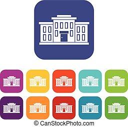 bâtiment, école, ensemble, icônes