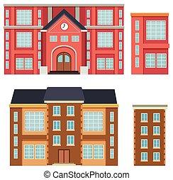 bâtiment, école, extérieur