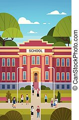 bâtiment, école, groupe, élèves, étudiants, aller, extérieur, écoliers