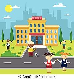 bâtiment, école, groupe, extérieur, écoliers