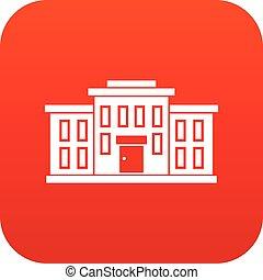 bâtiment, école, icône, rouges, numérique