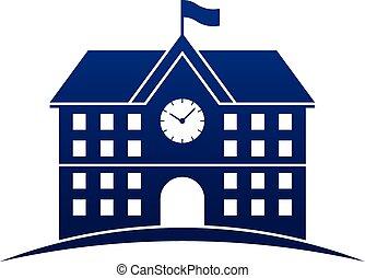 bâtiment, école, icône