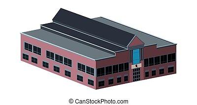bâtiment, école, isolé