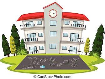 bâtiment, école, isolé, gabarit