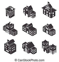 bâtiment, école, isométrique, 3d