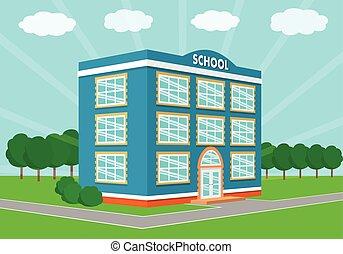 bâtiment, école, perspective, vue