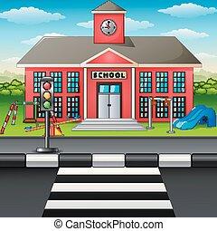 bâtiment, école, scène, cour de récréation