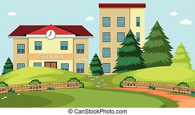 bâtiment, école, scène, nature