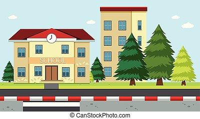 bâtiment, école, scène