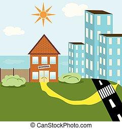 bâtiment, école, vecteur