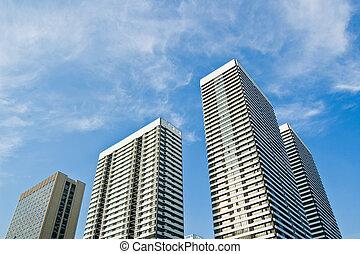 bâtiment, élevé, au-dessous, monter, pris