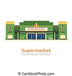 bâtiment, épicerie, supermarché, ou, magasin