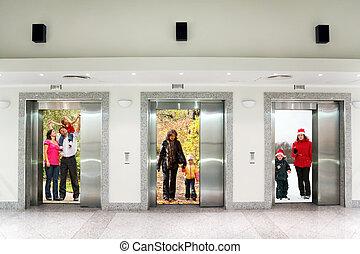 bâtiment, été, hiver, famille, collage, bureau, trois, ascenseur, automne, couloir, portes