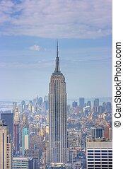 bâtiment, état, york, nouveau, empire, horizon, manhattan