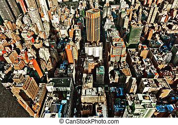bâtiment, état, york, nouveau, empire, vue