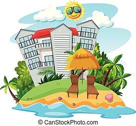 bâtiment, île, beau