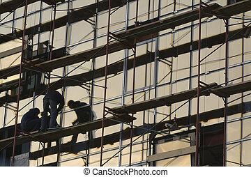 bâtiment, 1, site construction, bureau