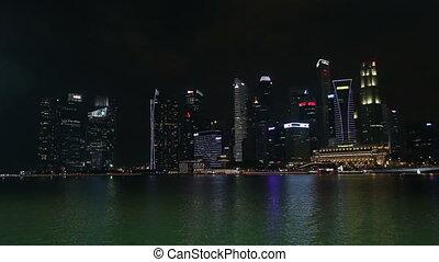 bâtiment, 2016:, merlion, crépuscule, -, singapour, baie, bussiness, 18, singapore., statue, marina, novembre, 2016