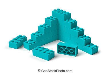 bâtiment, 3d, blocs jouet, construction, début