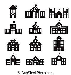 bâtiment, 411school, icône