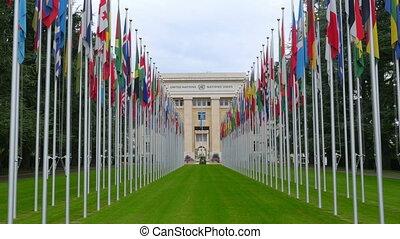 """bâtiment, 4k"""", genève, nations, drapeaux, suisse, """"united"""