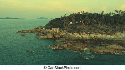 bâtiment, aérien, abandonnés, île, vidéo, petit, pendant, coucher soleil