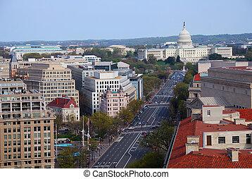 bâtiment, aérien, capitole, washington dc, colline, vue