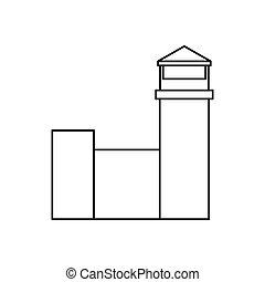 bâtiment, aéroport, isolé, icône