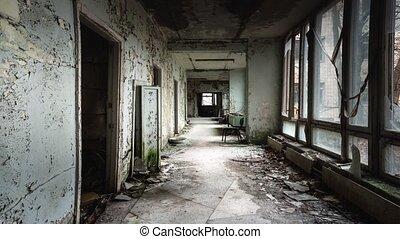 bâtiment abandonné, couloir, hôpital
