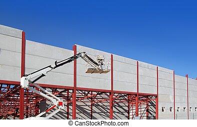 bâtiment, acier, industriel, grue construction, structure
