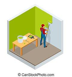 bâtiment, acier, isométrique, industrie, protection, mur, illustration, ouvrier, surface, rouleau, vecteur, brosse, interior., construction, nouveau, corrosion., peinture, peinture, maison