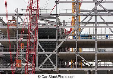bâtiment, acier, site, béton, construction, planchers, nouveau