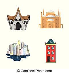 bâtiment, affaires ville, symbole, web., illustration, vecteur, collection, logo., stockage