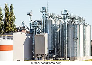 bâtiment, agricole, -, extérieur, silos