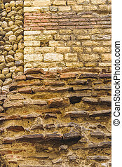 bâtiment, ancien, brickwall, extérieur