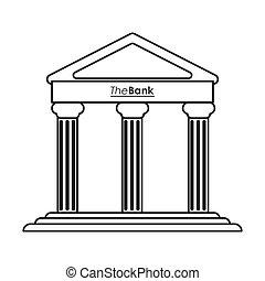 bâtiment, ancien, grec, conception, ligne, icône
